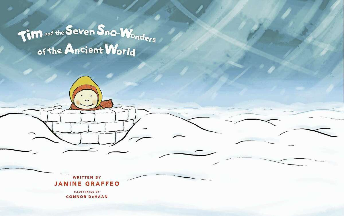 """The cover photo of Janine Graffeo's children's book """"Tim and the Seven Sno-Wonders of the Ancient World"""" is pictured. Graffeo's book, illustrated by Connor DeHaan, details a snow day wherein a mother's and son's elaborate snow sculptures are influenced by the Seven Wonders of the Ancient World. Graffeo released the book in November 2016 via the self-publishing platform Blurb.com."""