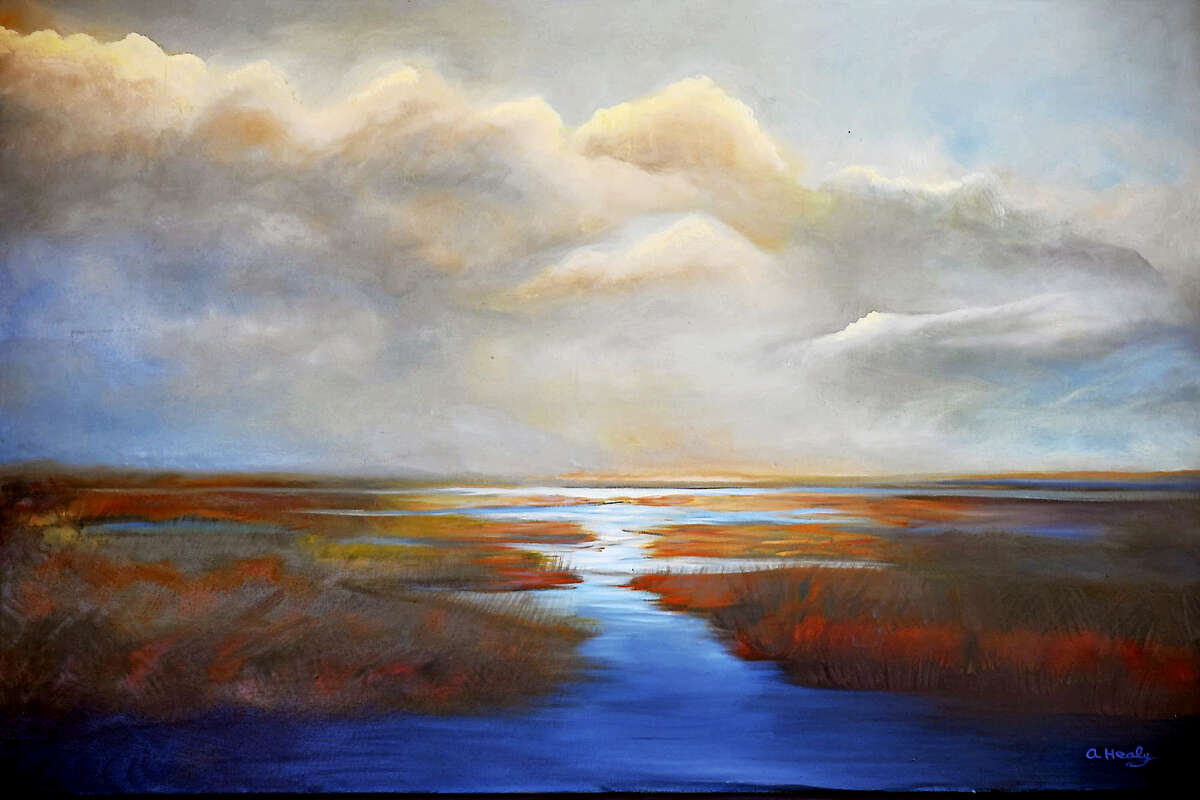 """Paintings by Anita Healy are included in her first solo show, """"Breathe"""" at the Gunn Memorial Library's Stairwell Gallery, June 3-July 22."""