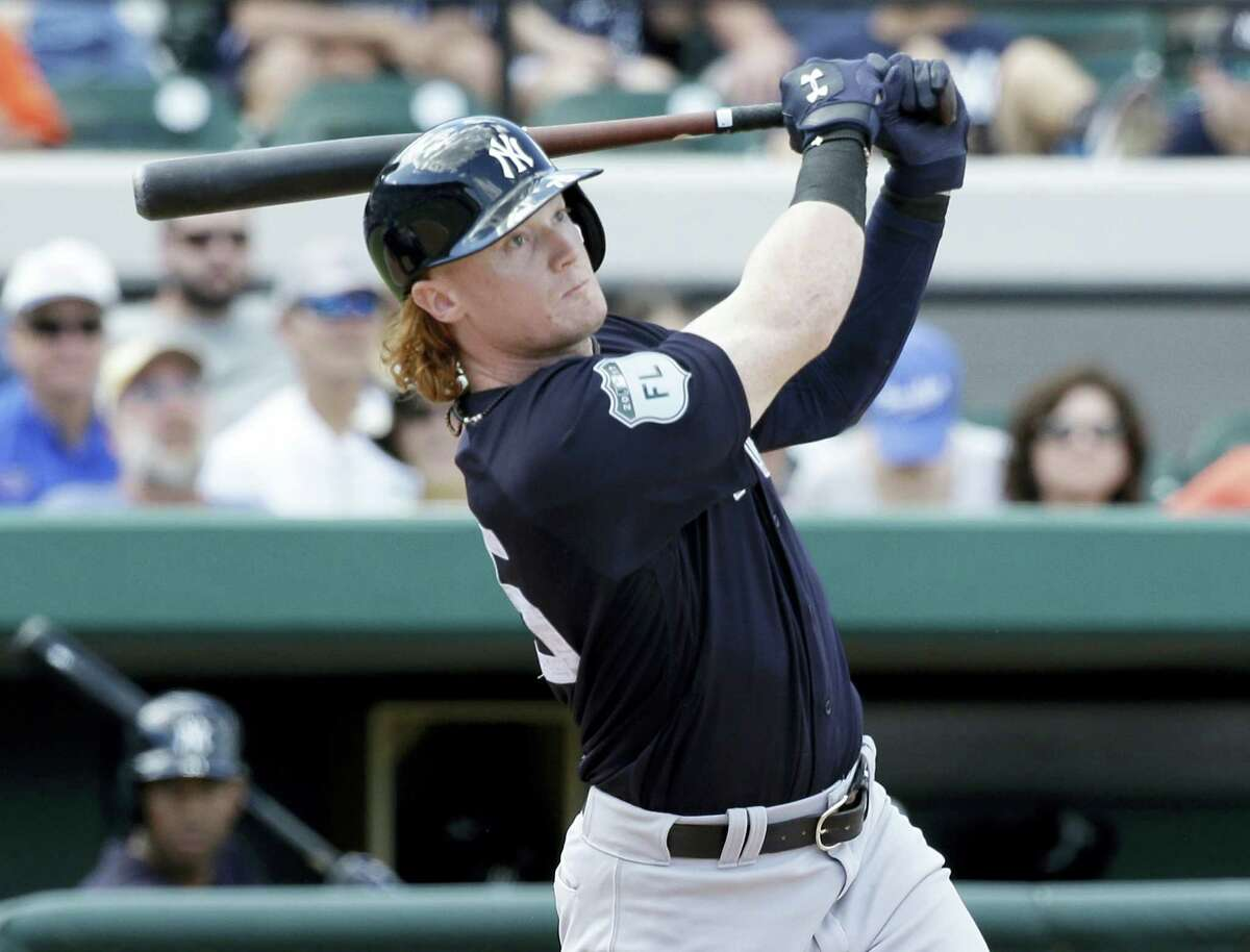 The Yankees' Clint Frazier bats against the Tigers during a spring training game earlier this month.