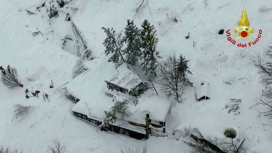 An aerial view of the Rigopiano Hotel hit by an avalanche in Farindola, Italy, early Thursday, Jan. 19, 2017. A hotel in the mountainous region hit again by quakes has been covered by an avalanche, with reports of dead. Italian media say the avalanche covered the three-story hotel in the central region of Abruzzo, on Wednesday evening. Photo: Italian Firefighters Via AP   / ANSA