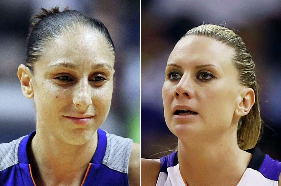 At left, in a Sept. 2, 2016 photo, Phoenix Mercury's Diana Taurasi is shown during the second half of a WNBA basketball game in Uncasville, Conn. At right, in a Sept. 9, 2014 photo, Phoenix Mercury forward Penny Taylor is shown during the second half of Game 2 of the WNBA basketball finals against the Chicago Sky in Phoenix. Diana Taurasi has married former Phoenix Mercury teammate Penny Taylor, then played in the team's season opener less than 24 hours later. The couple married May 13, 2017. Photo: AP Photo — File  / AP