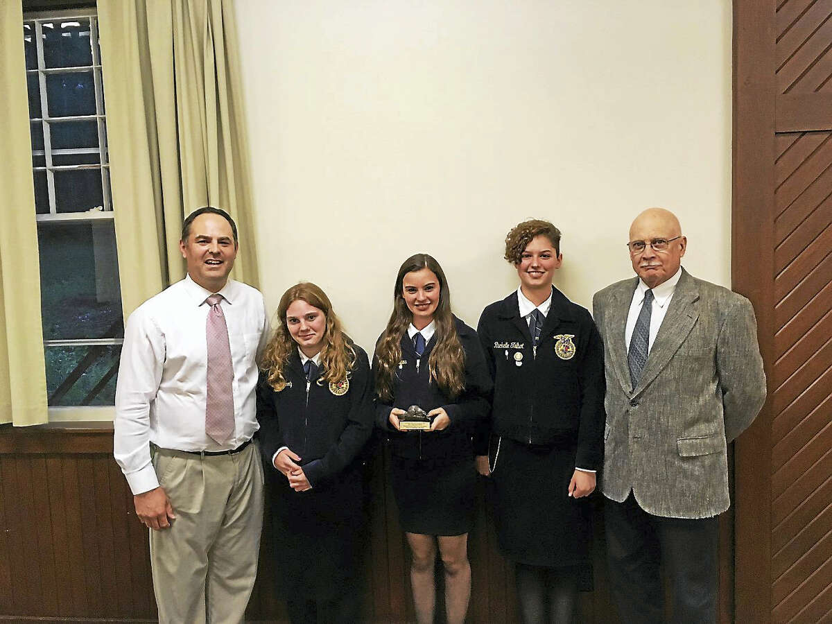 Wamogo Agriculture Science and Technology Department staff and students attended White Memorial's annual dinner. The 2017 recipients of White Memorial Foundation's Conservation Award, from left, teacher Christopher Brittain, students Ireland Kennedy, Amber Andrews and Rachelle Talbot, and Charles Rowland, department coordinator.