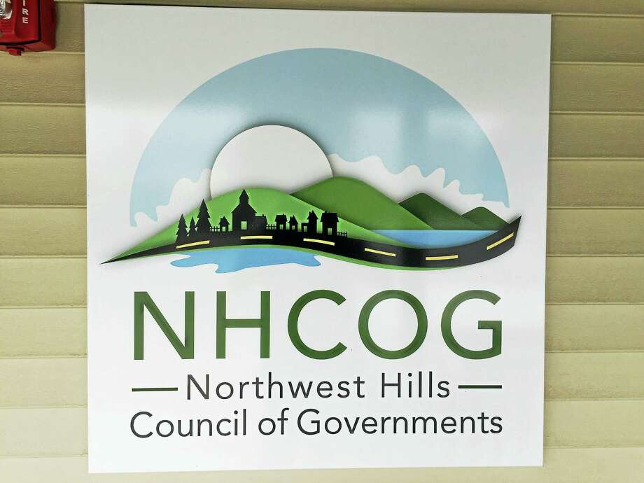 The logo of the Northwest Hills Council of Governments, as seen displayed within its headquarters. Photo: Ben Lambert — The Register Citizen