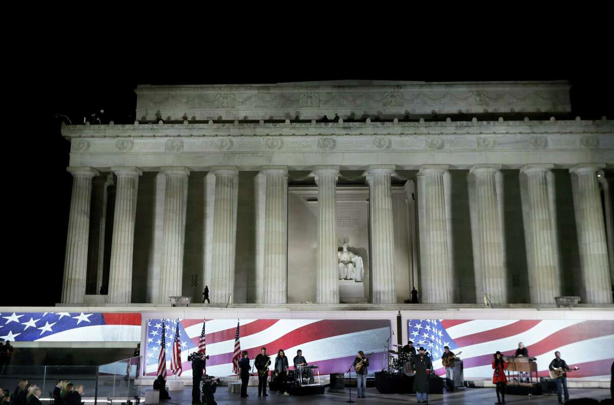"""Toby Keith performs at a pre-Inaugural """"Make America Great Again! Welcome Celebration"""" at the Lincoln Memorial in Washington on Thursday."""