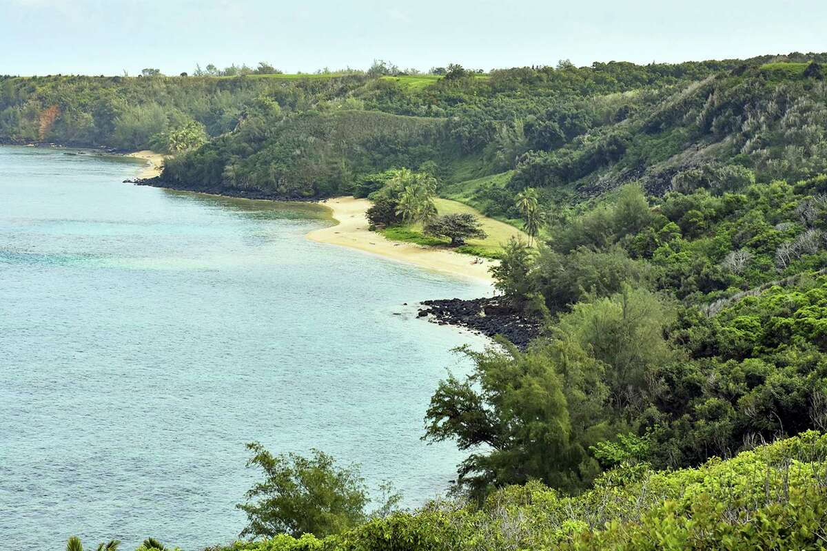 This photo shows public Pilaa Beach, center, below hillside and ridgetop land owned by Facebook CEO Mark Zuckerberg, near Kilauea on the north shore of Kauai in Hawaii.