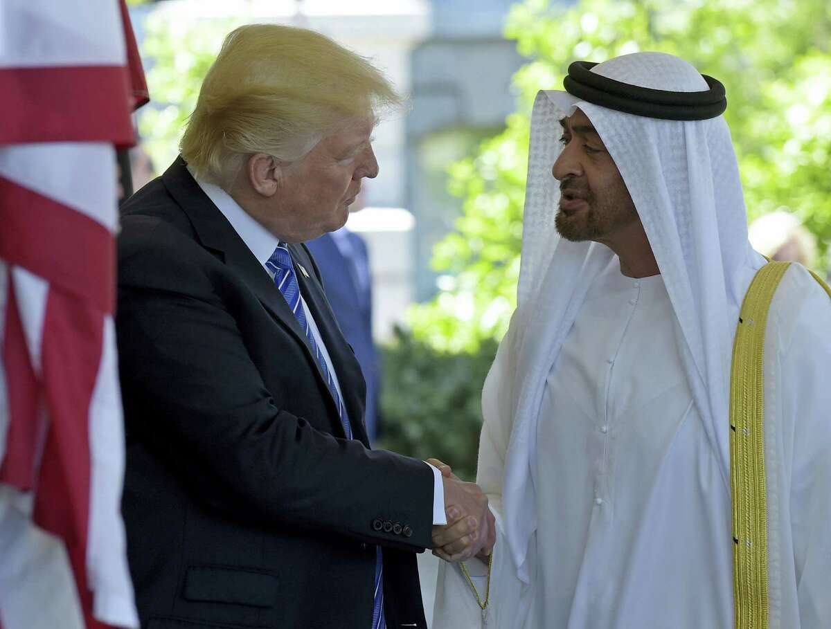 President Donald Trump welcomes Abu Dhabi's Crown Prince Sheikh Mohammed bin Zayed Al Nahyan to the White House in Washington, Monday.