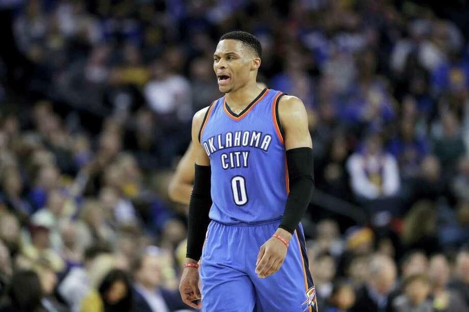 Oklahoma City Thunder guard Russell Westbrook. Photo: Marcio Jose Sanchez — The Associated Press  / Copyright 2017 The Associated Press. All rights reserved.