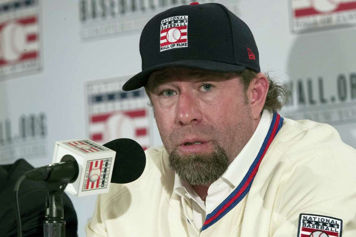 Newly elected baseball Hall of Fame inductee Jeff Bagwell speaks to reporters during a news conference Thursday in New York.