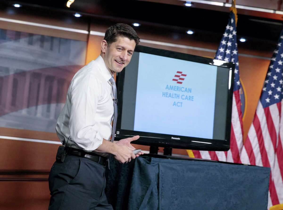 House speaks Paul Ryan of Wis. uses charts and graphs to make his case for the GOP's long-awaited plan to repeal and replace the Affordable Care Act, Thursday, March 9, 2017, during a news conference on Capitol Hill in Washington.
