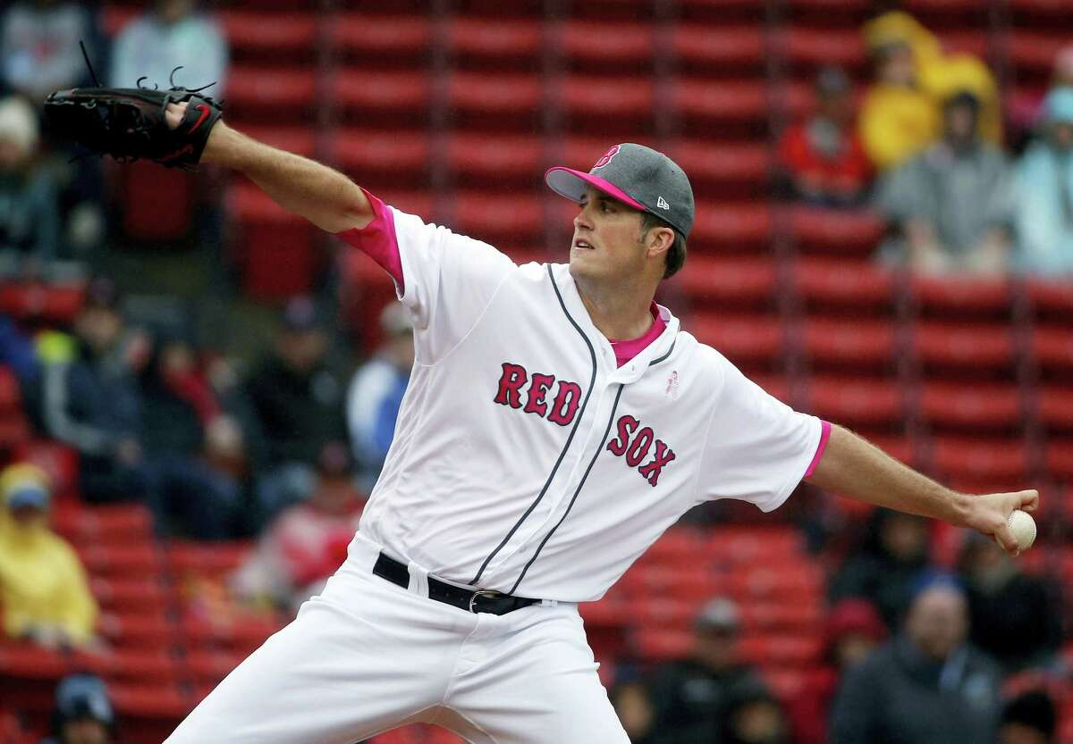 Boston Red Sox's Drew Pomeranz pitches during the first inning of a baseball game against the Tampa Bay Rays on May 14, 2017 in Boston.