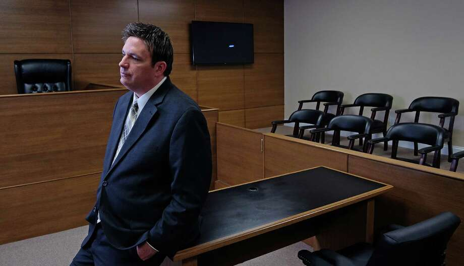 Micheal Donovan, chief executive and co-founder of Libre by Nexus, talks about the company's growth inside a mock courtroom at its headquarters in Verona, Va. Photo: Photo For The Washington Post By Norm Shafer  / Norm Shafer for The Washington Post.