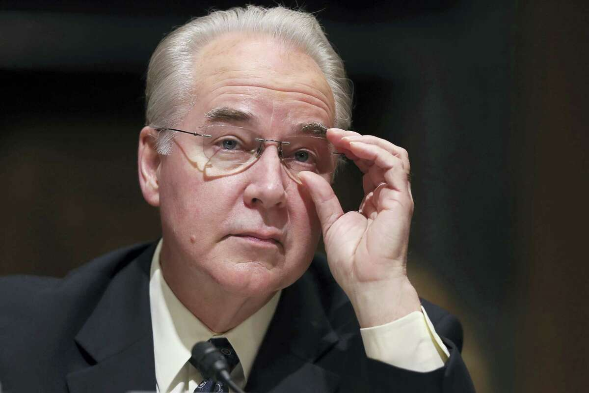 Health and Human Services Secretary Tom Price pauses while testifying on Capitol Hill in Washington.