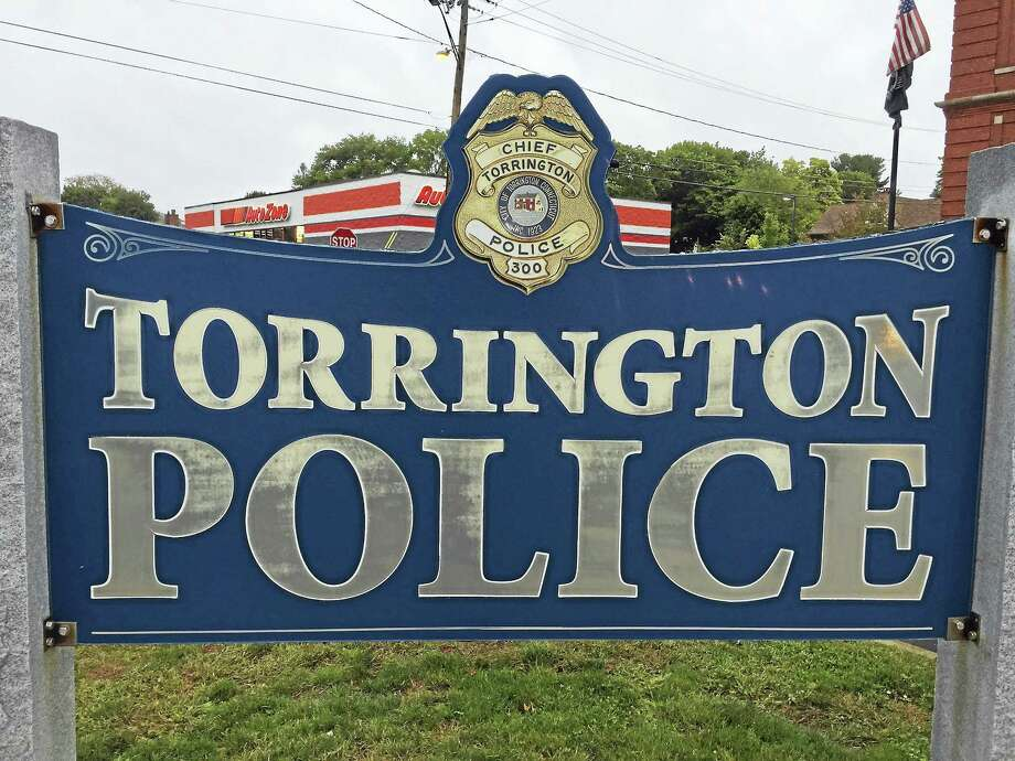The sign marking the Torrington Police Department. Photo: Ben Lambert — The Register Citizen