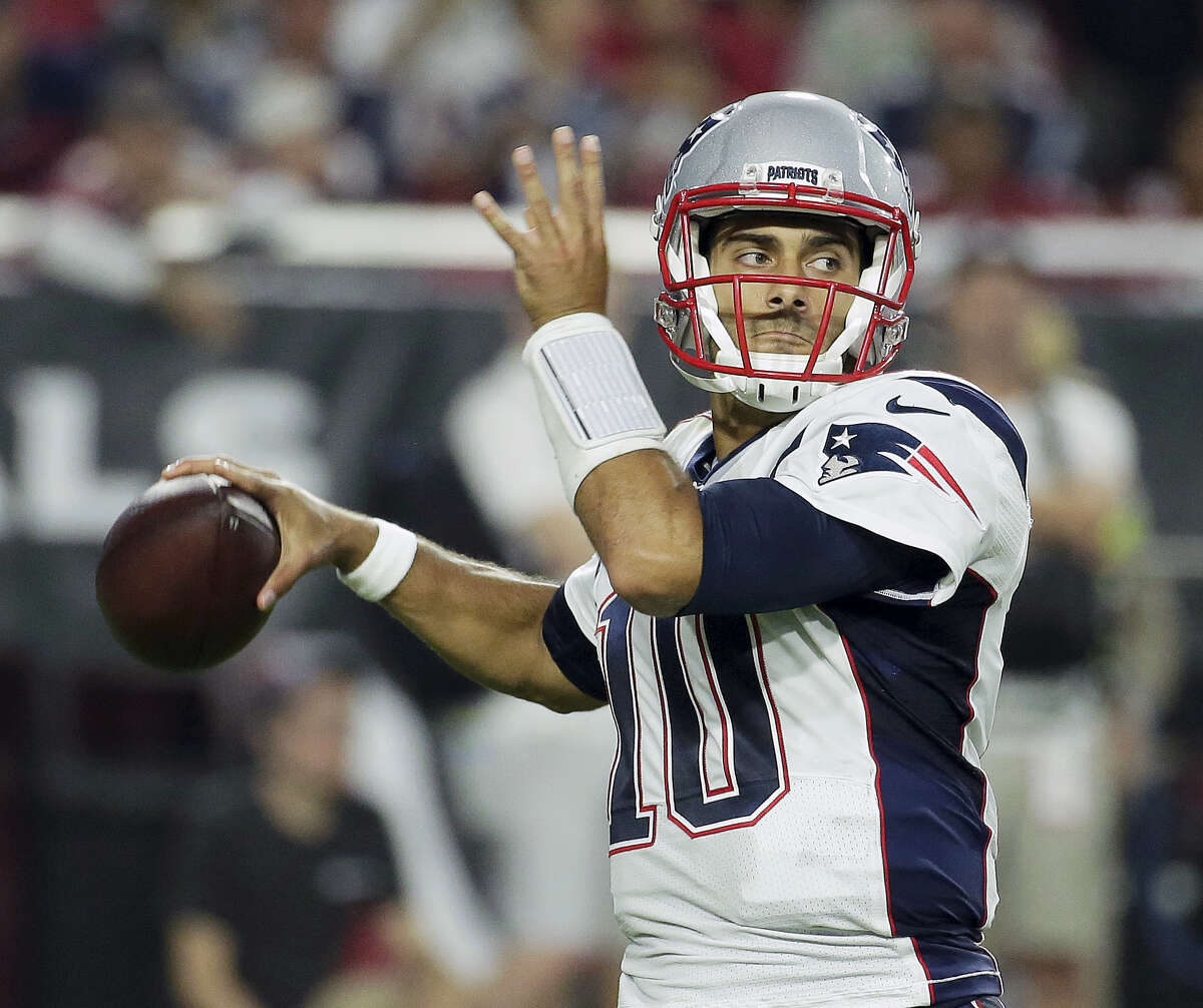 In this Sept. 11, 2016 photo, New England Patriots quarterback Jimmy Garoppolo (10) looks down field during an NFL football game against the Arizona Cardinals in Glendale, Ariz. With backups quarterbacks like Garoppolo, Mike Glennon, A.J. McCarron and Colt McCoy possibly on the move this offseason, the task for talent evaluators will be figuring out which group best fits each quarterback.