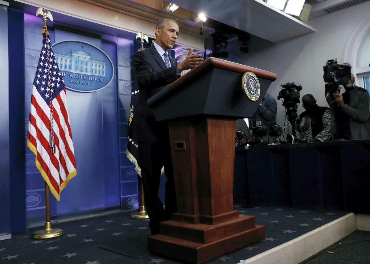 President Barack Obama speaks during his final presidential news conference in the briefing room of the White House in Washington on Wednesday.