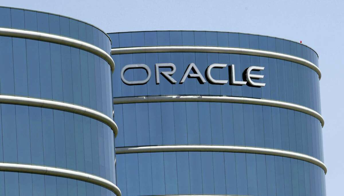 This file photo shows Oracle headquarters in Redwood City.