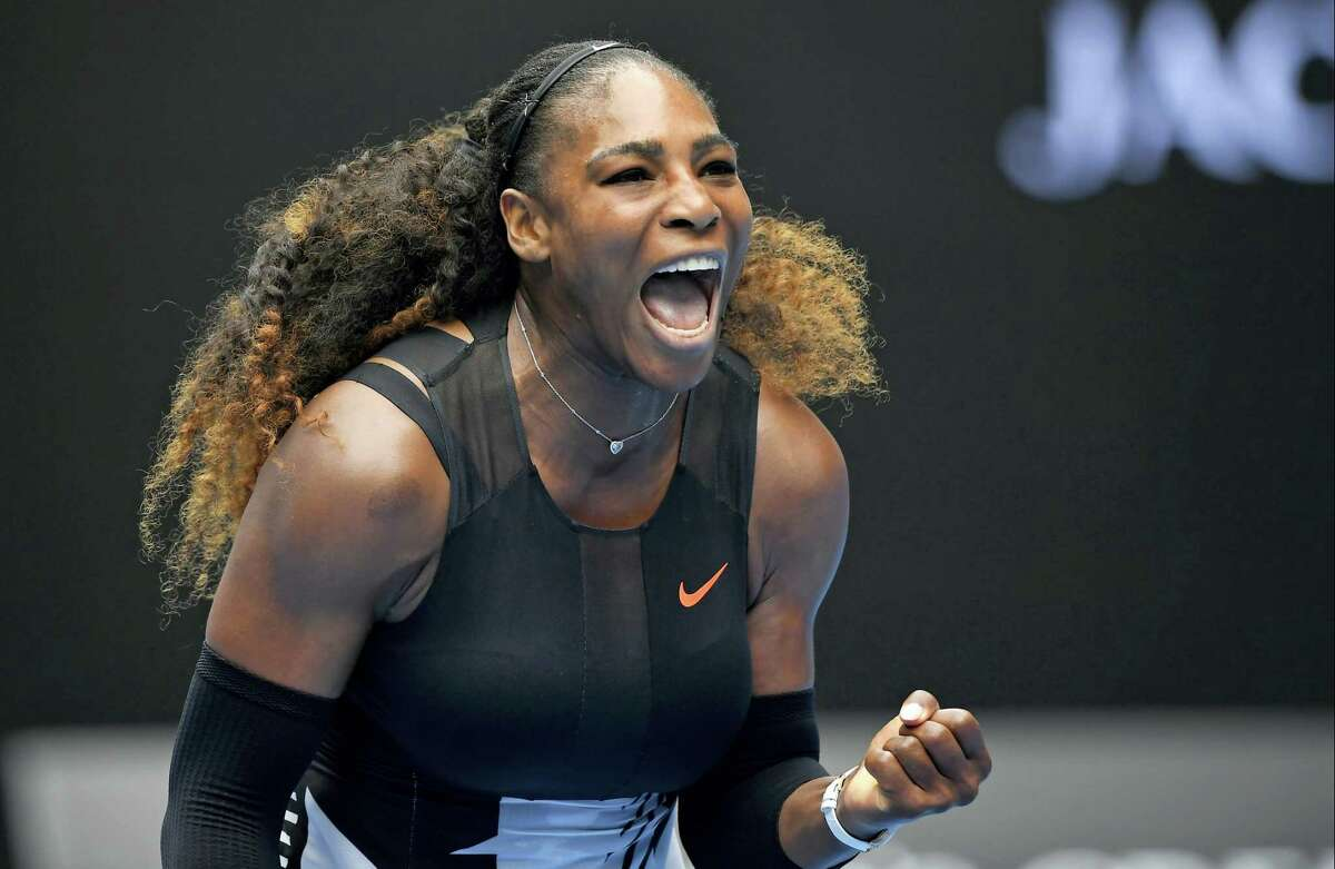 United States' Serena Williams celebrates a point win over Switzerland's Belinda Bencic during their first round match at the Australian Open tennis championships in Melbourne, Australia on Jan. 17, 2017.