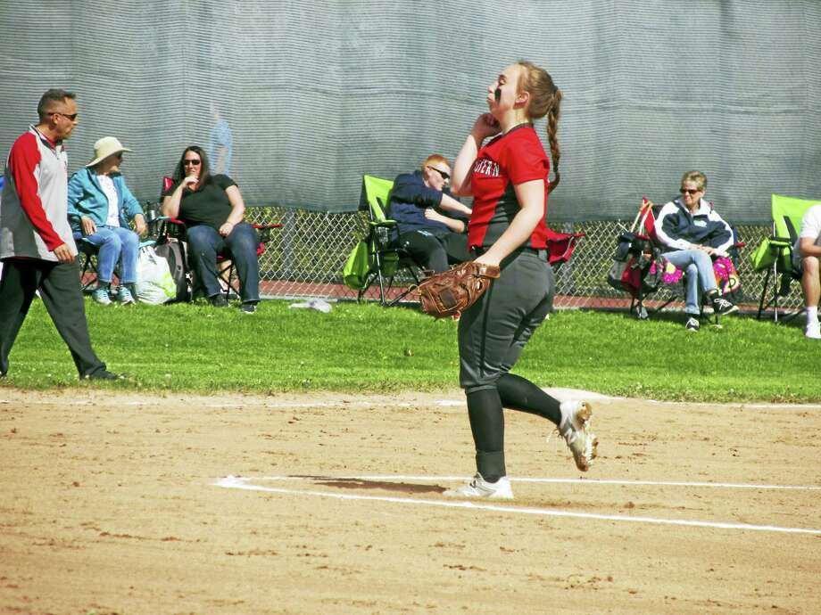 Photo by Peter Wallace Northwestern's Kate Matava delivers a pitch during Friday's win over Wamogo. Photo: Digital First Media