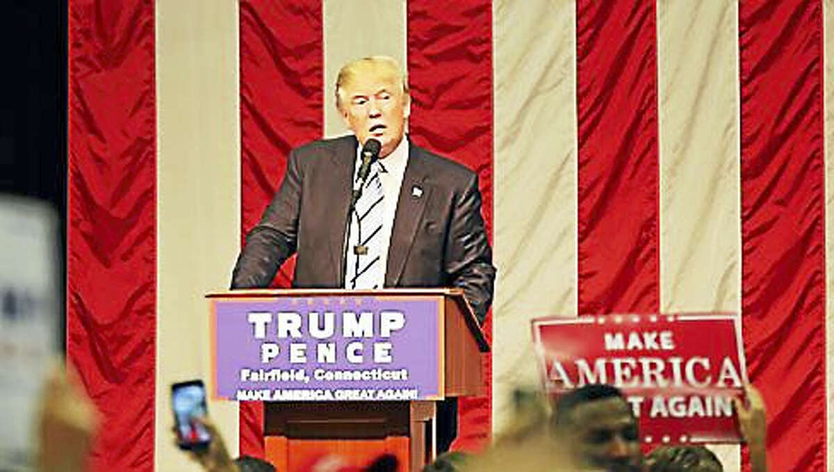 Donald Trump speaks at an August 2016 rally at Sacred Heart University in Fairfield.