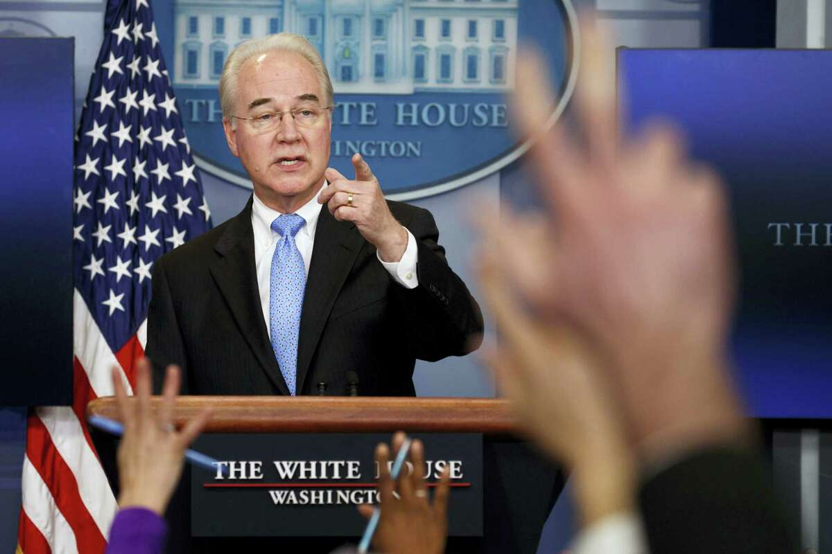 Health and Human Services Secretary Tom Price speaks during the White House press briefing, Tuesday in Washington.