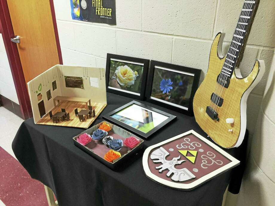 Students' work was the focus at Oliver Wolcott Technical School in Torrington Thursday during the annual art show. Photo: Ben Lambert — The Register Citizen