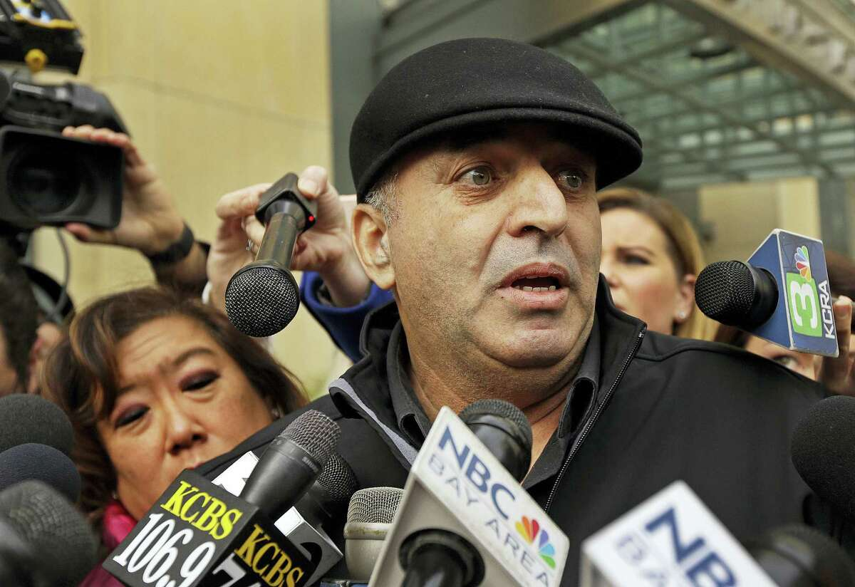 Al Salman, uncle of Noor Salman, speaks to the media Tuesday, Jan. 17, 2017, outside a federal courthouse in Oakland, Calif.