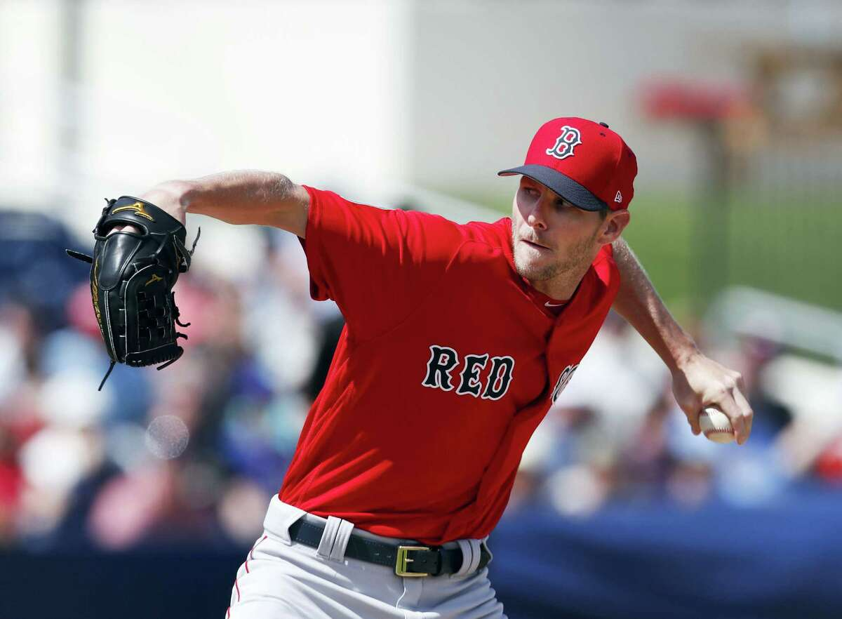 Red Sox starting pitcher Chris Sale works in the first inning of a spring training game on Monday against the Houston Astros.