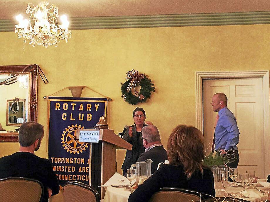 Vicki Veltri, a health care policy advisor to Lieutenant Gov. Nancy Wyman, speaks before the Torrington-Winsted Area Rotary Club Tuesday. Photo: Ben Lambert — The Register Citizen