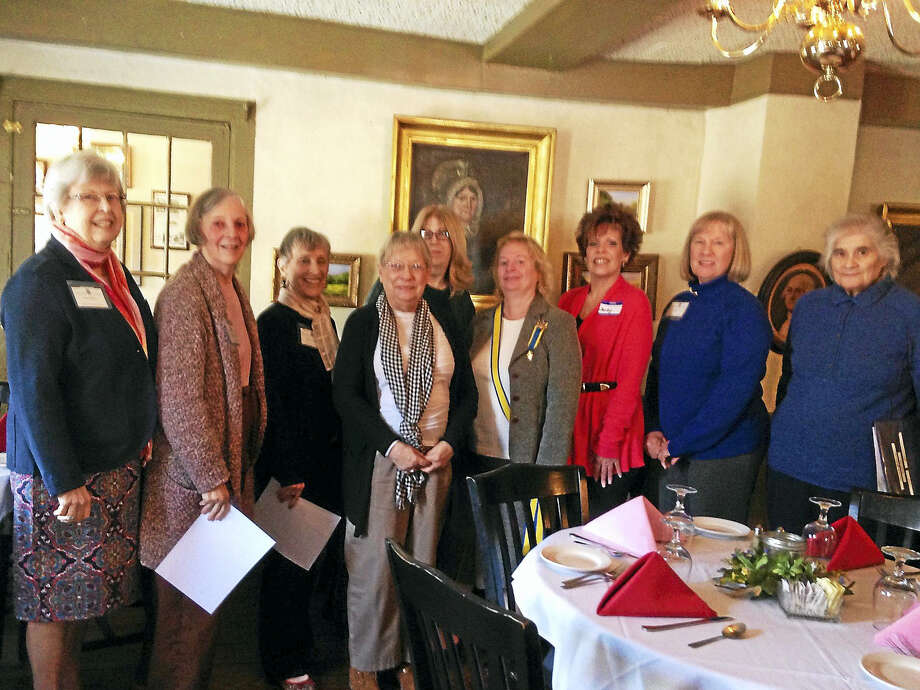 Above, Litchfield Colonial Dames' guest speaker, Susan Cheatham, center, attended the group's annual meeting. She is joined by newly elected members, from left, Judy Messer, Arline Bertolami, Paula Vitetta, Kathy McKenna (behind Susan Cheatham), Kate Sumner, Sandy Ward, Lynn Alexander and Barbara Blair. Photo: Contributed Photo