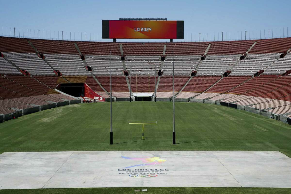 A general view of the Los Angeles Memorial Coliseum, Los Angeles 2024's proposed ceremonies and track-and-field venue.