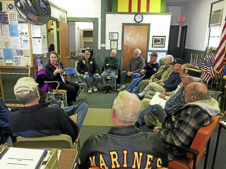 Rep. Elizabeth Esty met with local veterans for a roundtable discussion Monday in Torrington. Esty asked those who attended her gathering to discuss their experience with services for veterans, care, benefits, regulations and other areas of concern. Photo: Ben Lambert — The Register Citizen