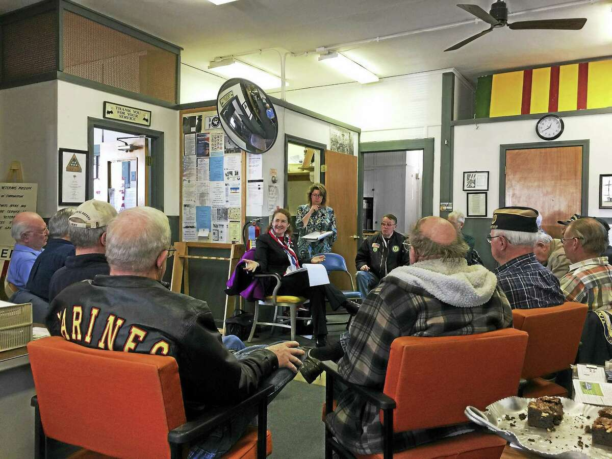 Rep. Elizabeth Esty met with local veterans for a roundtable discussion Monday in Torrington, the first stop in the area that also included a fraud prevention clinic at the Sullivan Senior Center and a veterans outpatient clinic in Winsted.