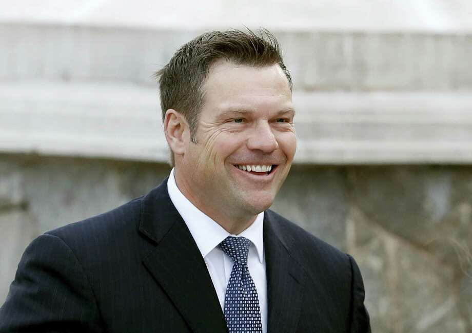 In this Nov. 20, 2016 file photo, Kansas Secretary of State, Kris Kobach is seen in Bedminster, N.J. President Donald Trump is expected to sign an executive order launching a commission to review alleged voter fraud and voter suppression in the U.S. election system, three White House officials said. Kobach and Vice President Mike Pence will lead the commission, which will look at allegations of improper voting and fraudulent voter registration in states and across the nation. Photo: Carolyn Kaster — AP Photo File  / Copyright 2016 The Associated Press. All rights reserved.