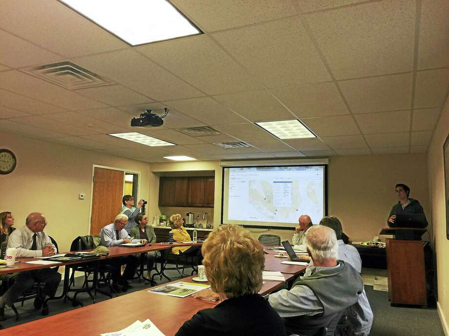 Ryan Williams of the Housatonic Valley Association discusses a project to develop a comprehensive trail map with the Northwest Hills Council of Governments Thursday in Goshen. Photo: Ben Lambert — The Register Citizen