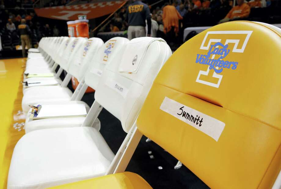 An orange chair labeled for Pat Summitt sits at the end of the Tennessee women's bench. In addition to the chair, Tennessee players are wearing commemorative patches on their uniforms to honor Summitt, who died June 28. Other women's basketball programs without direct connections to Summitt also are finding ways to honor one of the game's greatest ambassadors in the season after her death. Photo: The Associated Press File Photo  / Copyright 2016 The Associated Press. All rights reserved.