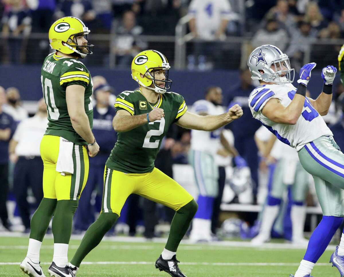 Packers kicker Mason Crosby watches his 51-yard field goal to win the game as time expires on Sunday.