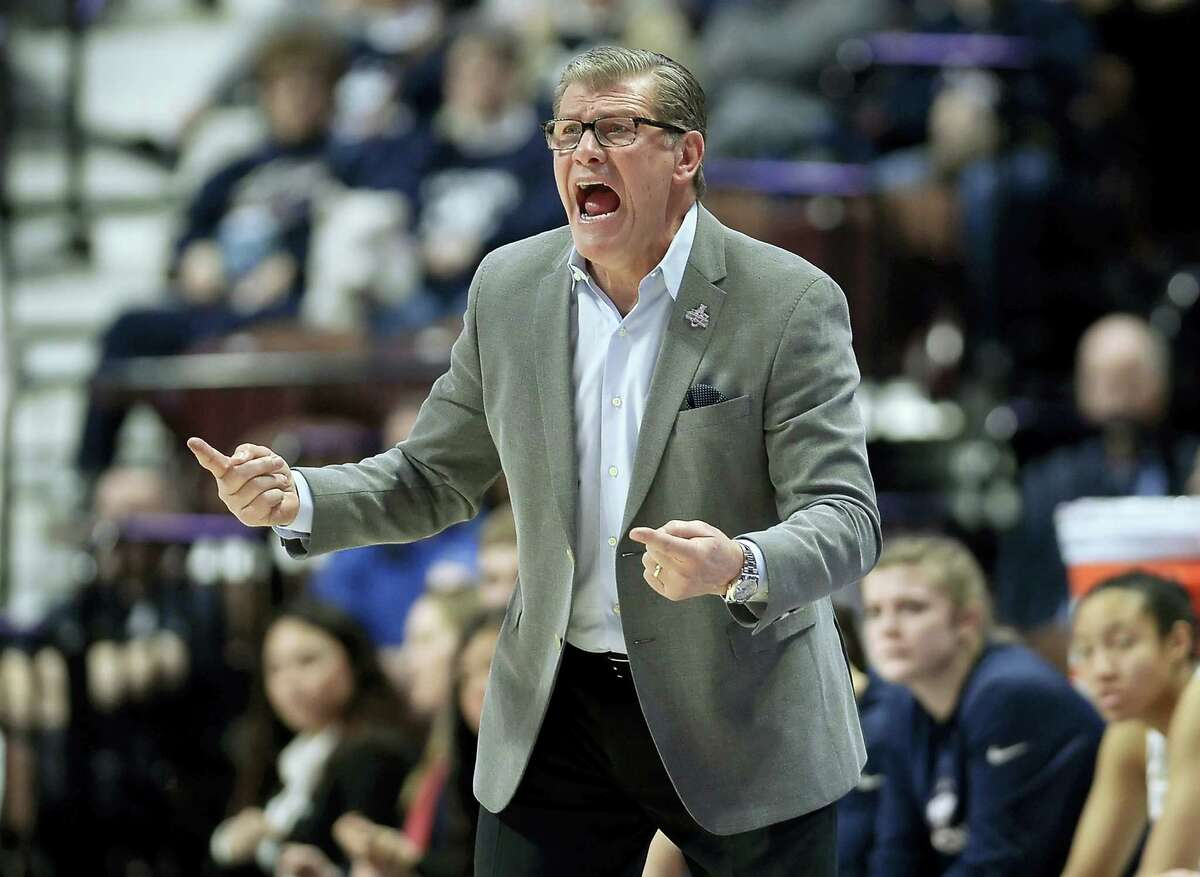 UConn coach Geno Auriemma reacts toward an official during Saturday's win over Tulsa.