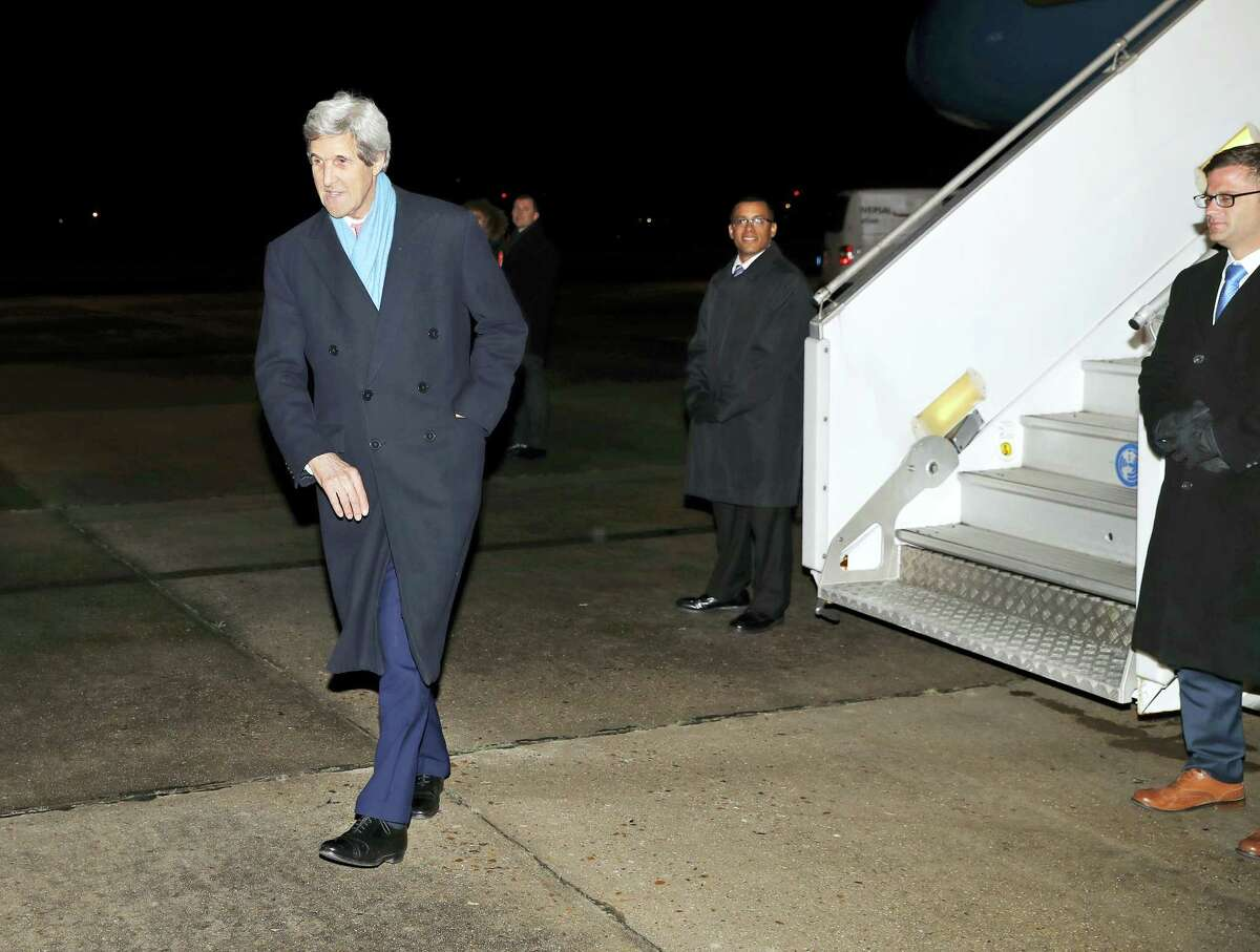 U.S. Secretary of State John Kerry walks to a waiting car as he arrives at Le Bourget Airport on Jan. 15, 2017 in Paris, France. Kerry is attending a Middle East peace conference.