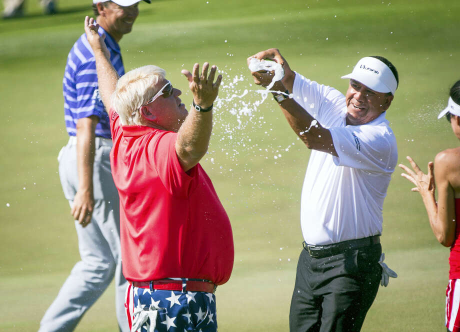 John Daly is doused after winning the Insperity Invitational golf tournament on May 7, 2017 in The Woodlands, Texas. Photo: Michael Minasi — Houston Chronicle Via AP  / ' 2017 Houston Chronicle