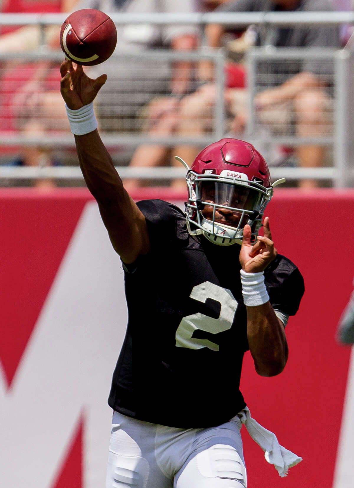 Alabama quarterback Jalen Hurts has looked more in command of the offense entering the Crimson Tide's season opener.