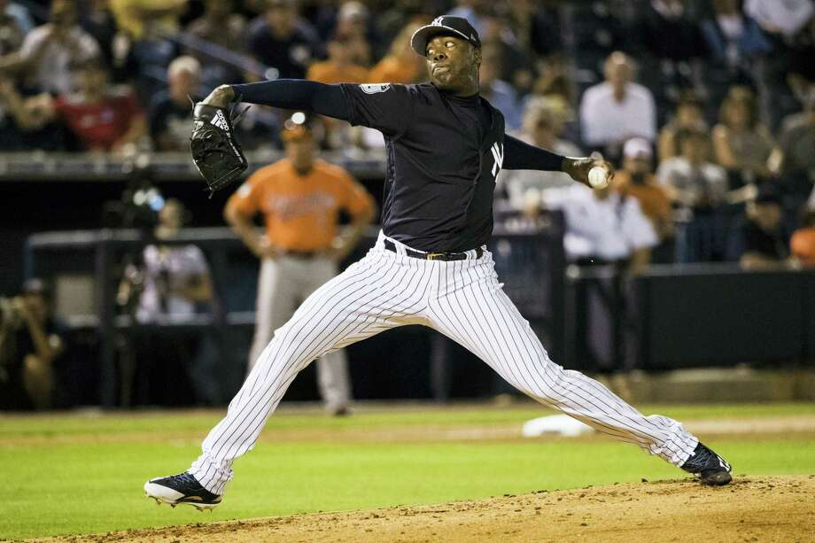 New York Yankees pitcher Aroldis Chapman throws during Thursday's spring training game against the Orioles. Photo: Matt Rourke — The Associated Press  / Copyright 2017 The Associated Press. All rights reserved.