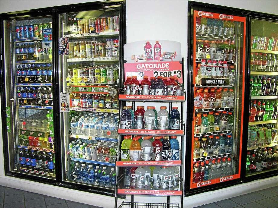 KEVIN TUSTIN — DIGITAL FIRST MEDIA  Sports drinks like Gatorade, soda, energy drinks, juice drinks like Hawaiian Punch are all privy to the proposed soda tax in Philadelphia. Photo: Digital First Media