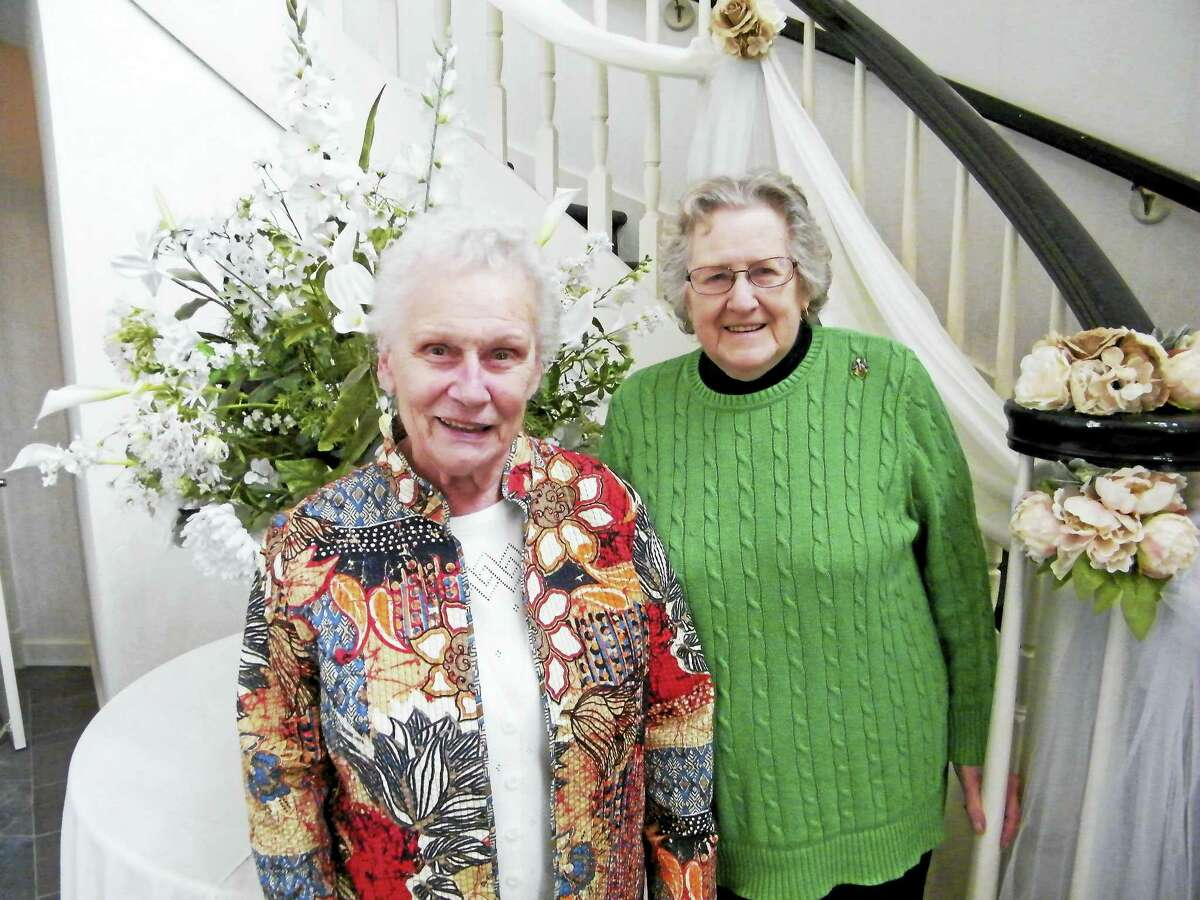 Volunteer Annette Caputi, left, has given 7,300 hours and Daphne Bobinsky has given 6,800 hours of lifetime volunteer service to Charlotte Hungerford Hospital in Torrington. The women joined other volunteers for an appreciation luncheon and awards ceremony.