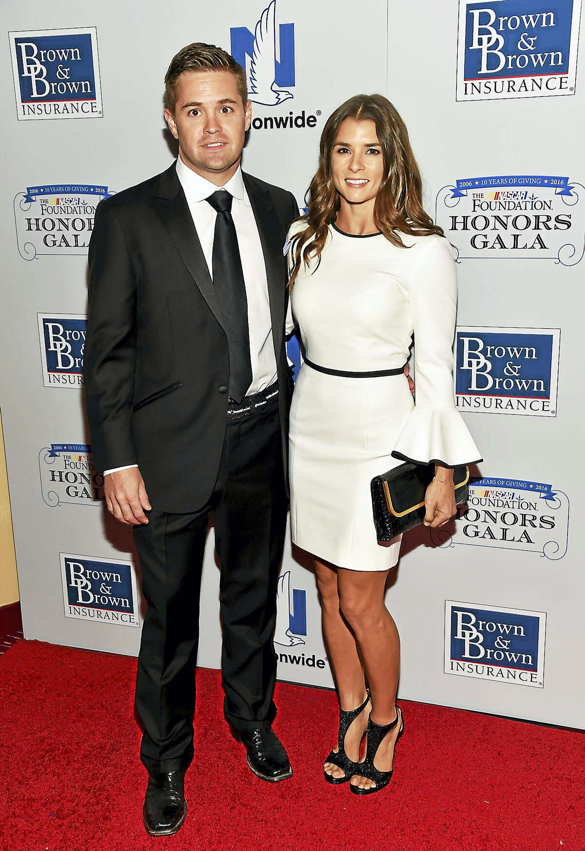 NASCAR drivers Ricky Stenhouse Jr. and Danica Patrick attend a 2016 gala in New York.