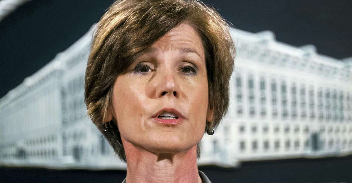 In this June 28, 2016 photo, then-Deputy Attorney General Sally Yates speaks during a news conference at the Justice Department in Washington. An Obama administration official who warned the Trump White House about contacts between Russia and one of its key advisers is set to speak publicly for the first time about the concerns she raised. Yates is testifying May 8, 2017 before a Senate Judiciary subcommittee investigating Russian interference in the 2016 presidential election.