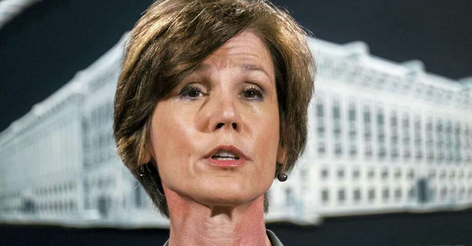 In this June 28, 2016 photo, then-Deputy Attorney General Sally Yates speaks during a news conference at the Justice Department in Washington. An Obama administration official who warned the Trump White House about contacts between Russia and one of its key advisers is set to speak publicly for the first time about the concerns she raised. Yates is testifying May 8, 2017 before a Senate Judiciary subcommittee investigating Russian interference in the 2016 presidential election. Photo: AP Photo — J. David Ake, File  / Copyright 2016 The Associated Press. All rights reserved. This material may not be published, broadcast, rewritten or redistribu