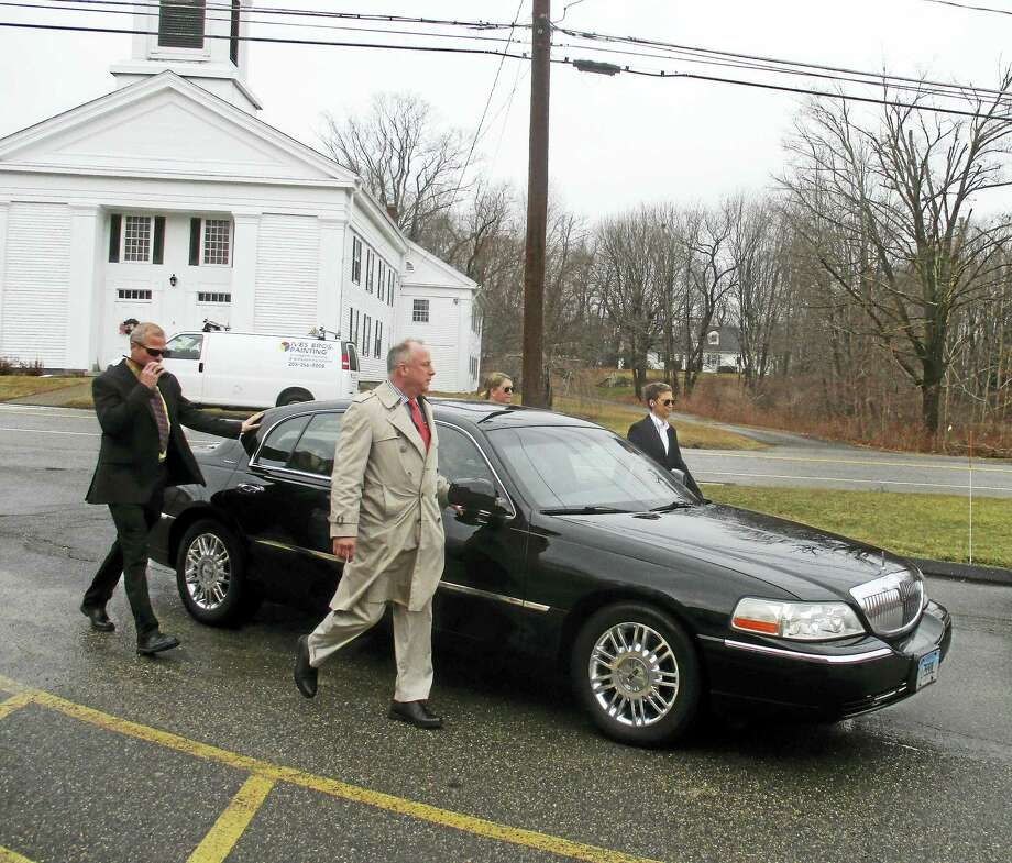 """Contributed photos Region 6 students and teachers hosted an inauguration celebration Thursday, complete with cars and """"Secret Service"""" agents. Photo: Digital First Media"""