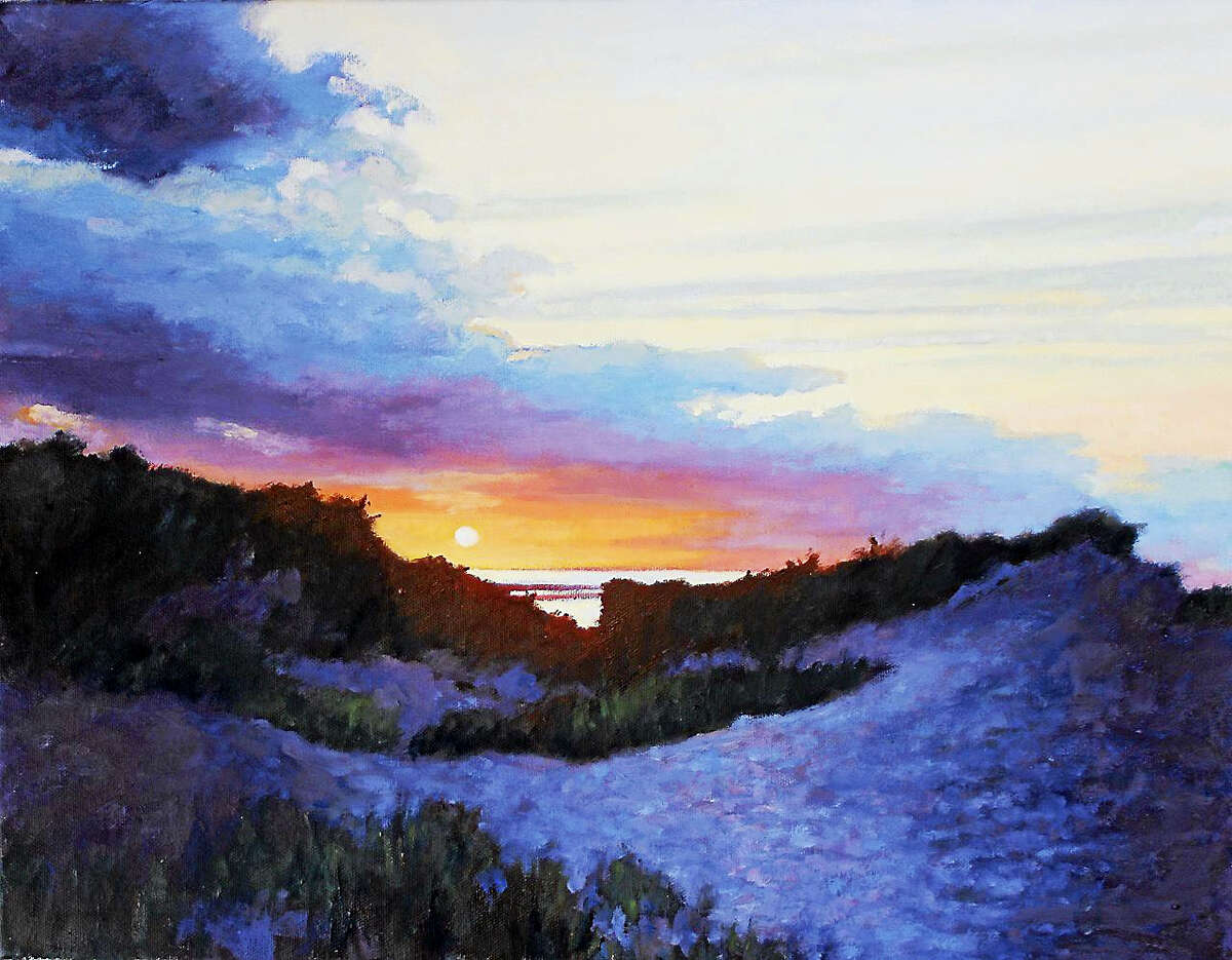 """""""Chapin Beach Sunset,"""" by Warren resident Beth Carlson. Carlson's artwork will be on display through Feb. 28 in the Gallery at Kent Memorial Library."""