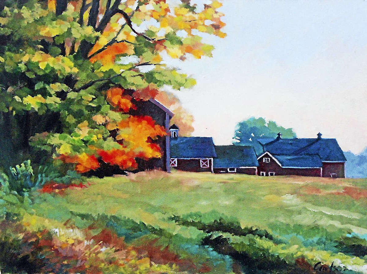 """""""Kent Hollow Barns,"""" by Warren resident Beth Carlson. Carlson's artwork will be on display through Feb. 28 in the Gallery at Kent Memorial Library."""