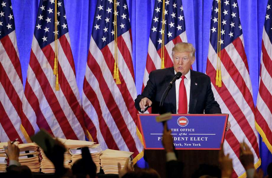 President-elect Donald Trump takes questions from members of the media during a news conference, Wednesday, Jan. 11, 2017, in New York. The news conference was his first as President-elect. Photo: Seth Wenig — AP Photo  / Copyright 2017 The Associated Press. All rights reserved.